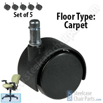 Haworth Improv Chair Soft Floor Casters Set Of 5 18 99
